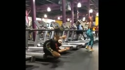 Guy FALLS off Treadmill while looking at girls BOOTY