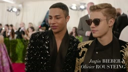 Justin Bieber and Olivier Rousteing fly on the Red Carpet at the Met Gala 2015