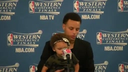 TOO CUTE!! Watch Stephen Curry's daughter Riley Steal the Show at NBA Press Conference