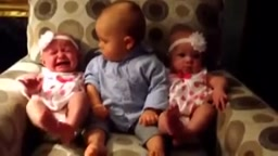 Infant Meets Twin Sisters for the 1st time