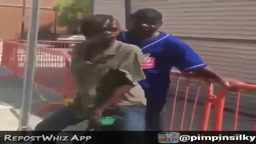 LOL! Crack Head TWERKS On Random Guy in The Streets And Makes Him Fall!!