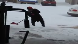 LOL! Guy Falls for 9 seconds while shoveling snow