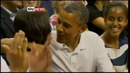 Awwww! POTUS Barack And Michelle Obama Share a KISS For the Jumbotron 'KISS CAM'
