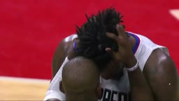 Chris Paul and Deandre Jordan accidentally HeadButt eachother while celebrating
