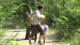 Scared Jogger Jumps In River During Jurassic Park Prank